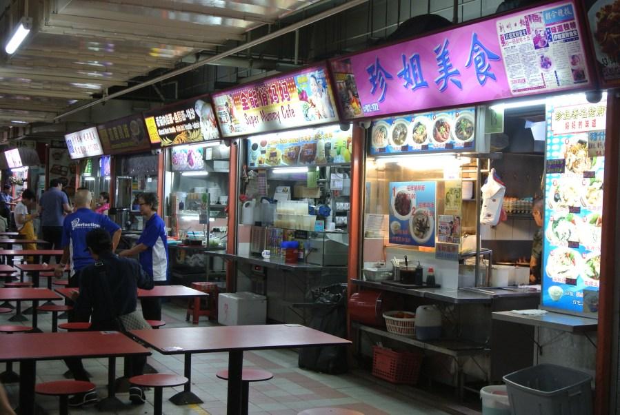 Inside the multi-floor outdoor food court hundreds of stalls.
