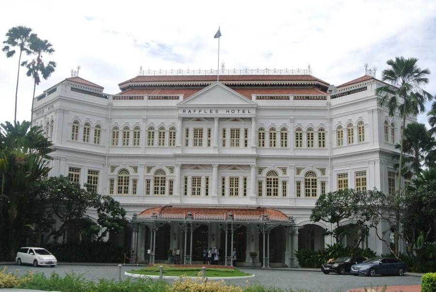The beautiful facade of Raffles Hotel.