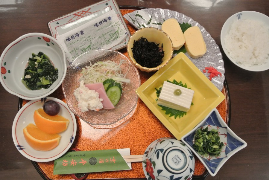 Our first traditional Japanese breakfast at the Ryokan.