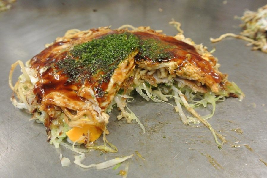 All the different layers that go into making the okonomiyaki.