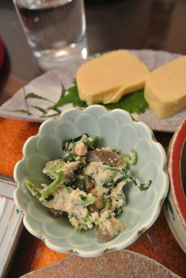 Shira-ae salad - made out of mashed tofu, spinach, konyaku, sesame, etc.