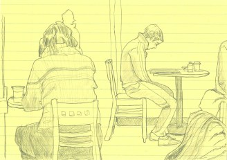 boy in cafe