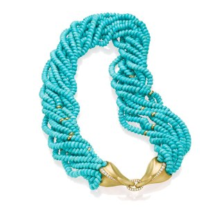 Multi-strand Turquoise Necklace Yellow Gold Diamonds
