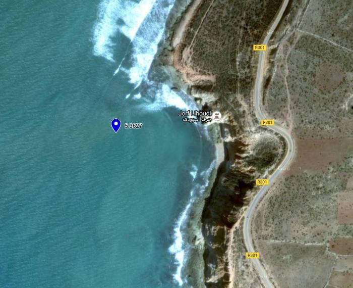 サーフポイントとして認識された衛星写真