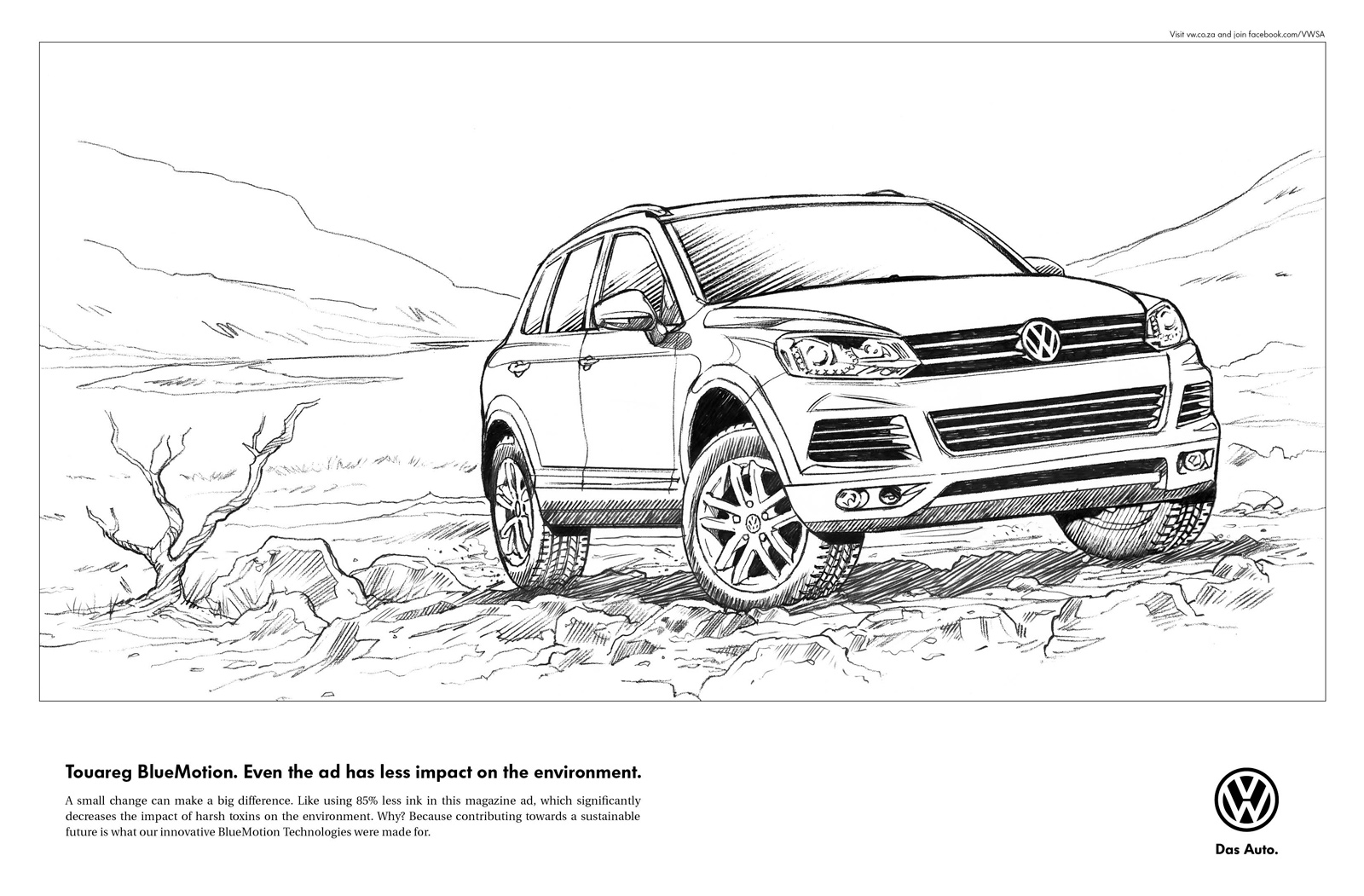 Volkswagen Print Advert By Ogilvy Line Drawing