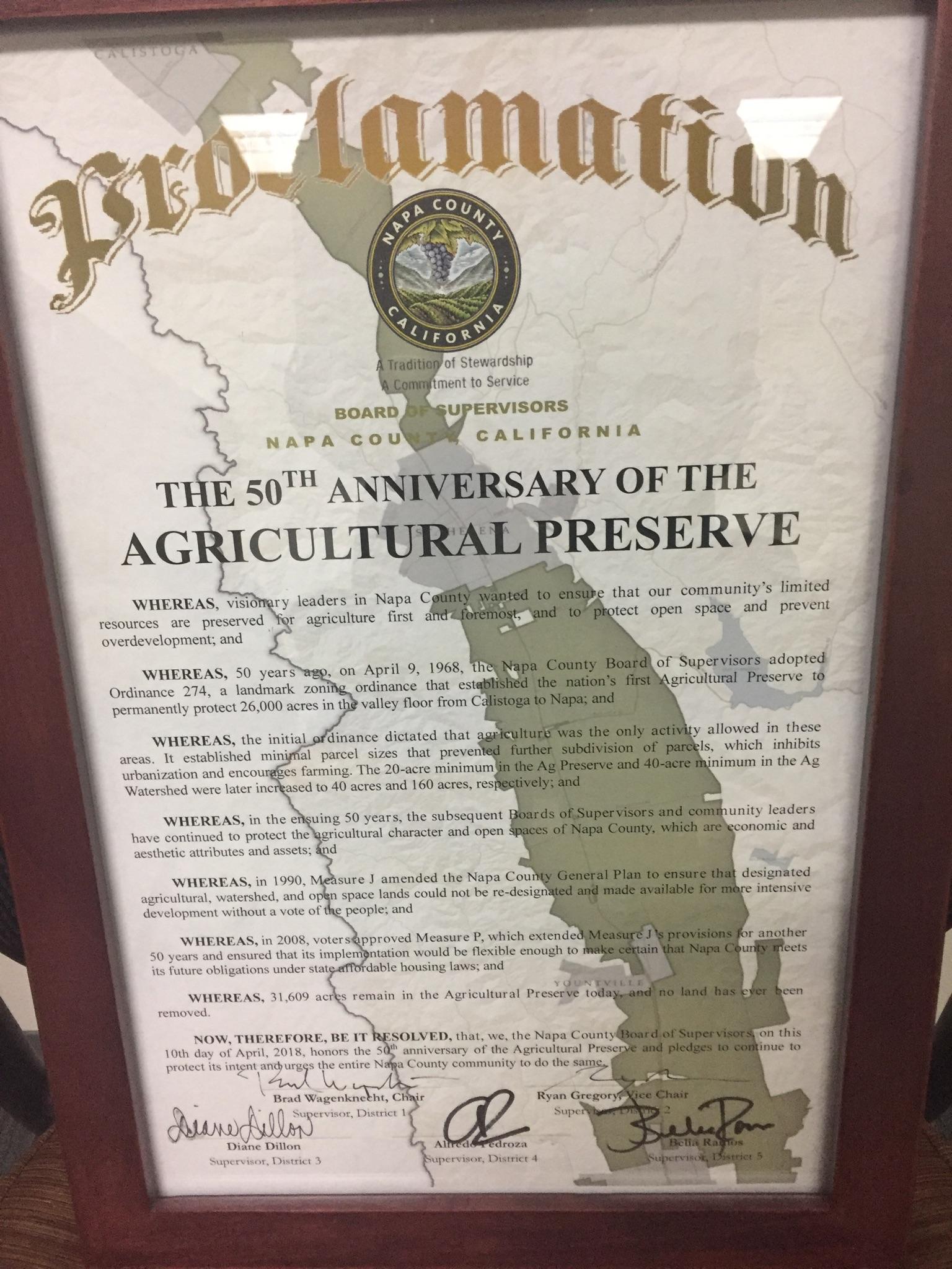 Napa County Proclamation