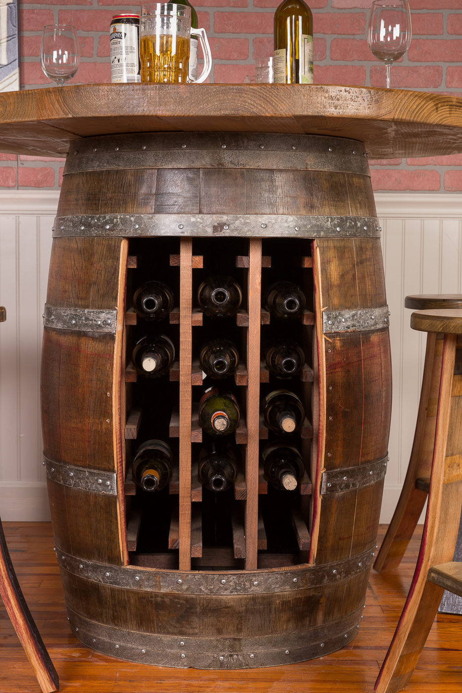 Wine Barrel Round Table Top Set Rack Base Napa East