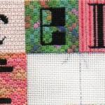 Celebrate Needlepoint Sampler in progress. blocks 1-4