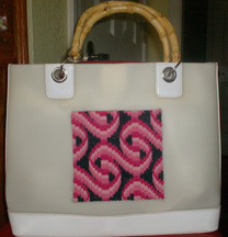 bargello needlepoint glued onto ready-made tote bag