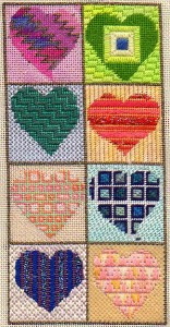 heart needlepoint in analogous color scheme