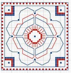 roman mosaic from bath in blackwork on Congress Cloth, designed by Janet Perry
