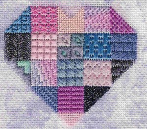 heart needlepoint stitch sampler, designed by Janet Perry in  purple