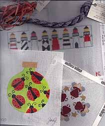 needlepoint auction items, kathy schenkel, jody designs, ladybug, lighthouse, angel, petei