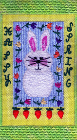 happy heart spring bunny needlepoint, stitch guide by janet perry