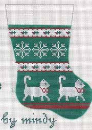 hand painted canvas needlepoint cat mini sock ornament from mindy