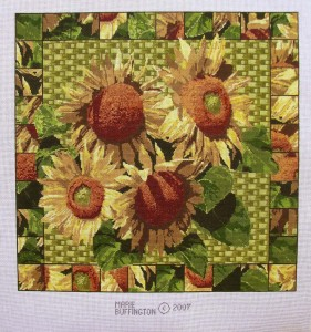 Summer in Saginaw sunflowers hand painted canvas needlepoint, designed by Marie Buffington