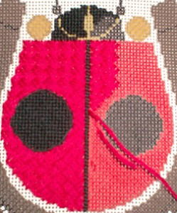 ladybug in needlepoint by charley harper, stitched by janet perry