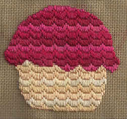 bargello needlepoint cupcake designed by janet perry