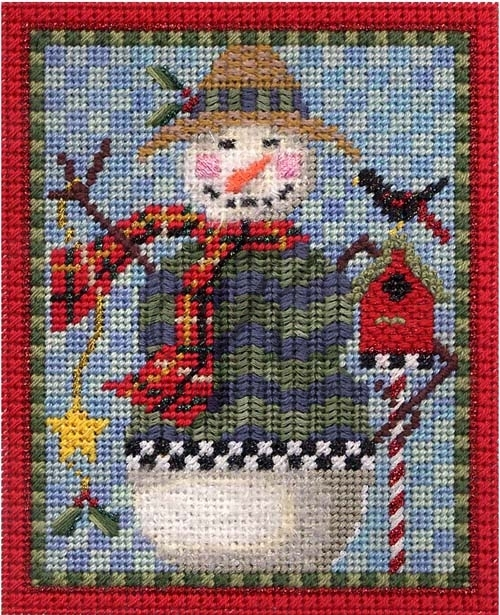 Snowman Straw Hat needlepoint by kelly clark
