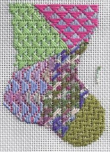 learn a stitch needlepoint mini-sock, milanese stitch, designed by needlepoint expert janet m. perry