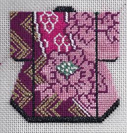 Lee Needle Arts needlepoint kimono using City Needlework Silk stitched by needlepoint expert Janet M. Perry