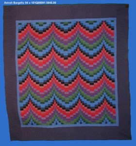 amish bargello quilt that is inspiration for needlepoint mini-sock designed by needlepoint expert janet m. perry