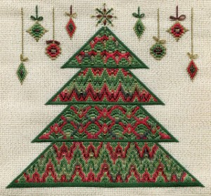 Bargello needlepoint christmas tree designed by laura j perin