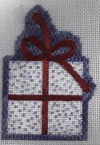 needlepoint with sequins and wonder ribbon, stitched by needlepoint expert janet m. perry