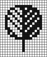 whole stitch chart of pixelated tree for needlepoint or cross stitch, charted by needlepoint expert janet m. perry