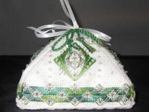 pyramid needlepoint ornament by pat mazu