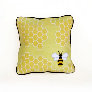 bee needlepoint pillow from modern needleworks