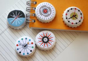 Turn mid-century modern clocks into stitcher's magnets