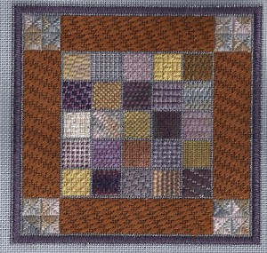 small stitch needlepoint sampler, designed by needlepoint expert Janet M> Perry