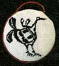 mimbres bird round needlepoint ornament