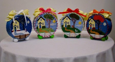 Rebecca Wood needlepoint seasonal houses