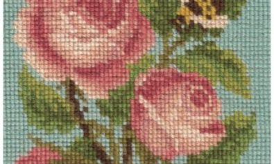 Roses and Bee needlepoint
