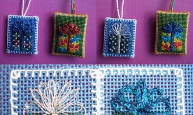 needlepoint present gift tags