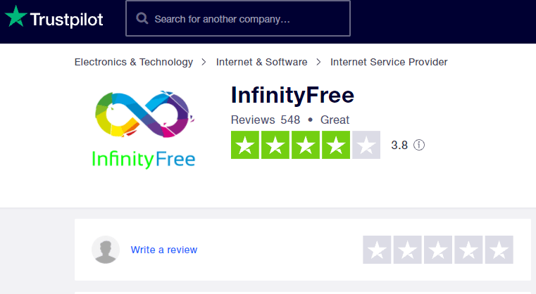 Free web hosting sites - infinityfree, Great Review