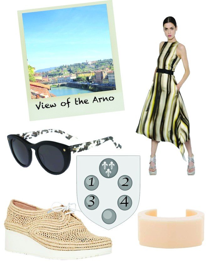 1. Ferragamo sunglasses, $ 2. Ferragamo dress, $ 3. Roberto Clergerie shoes, $ 4. Ferragamo cuff, $