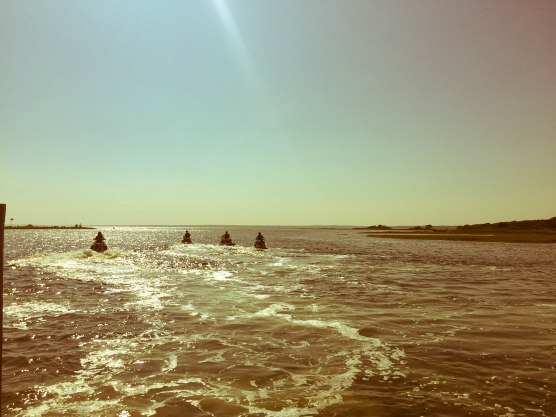 Griff, Pierce, Ansel and Violetta on the jetskis