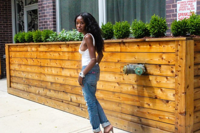 Gotta love an easy boyfriend jean - a Saturday afternoon staple, it's my more polished answer to sweats. jeans, true religion. bodysuit, h&m. watch, g-shock. shoes, manolo blahnik.