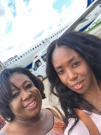 with my mom after landing in Havana!