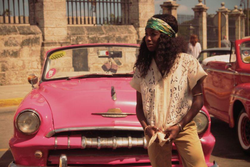 Nneya in La Havana Pink Car by Isis