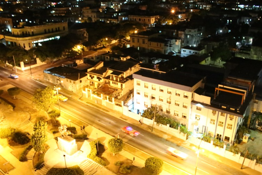 26 Looking down at night on Avenida Presidente in Vedado by Nneya Richards