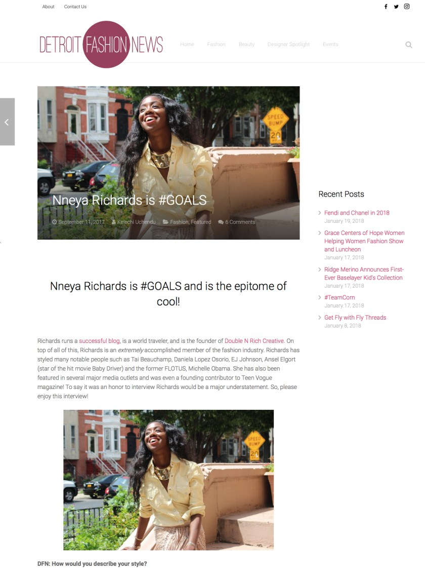 DetroitFashionNews - 9.11.17 - Nneya Richards is #Goals Preview clip for NAPW