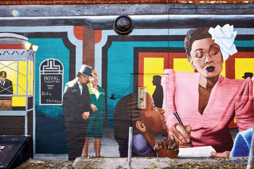 Colorful mural in downtown Baltimore feature jazz great Billie Holiday and the Royal Theatre