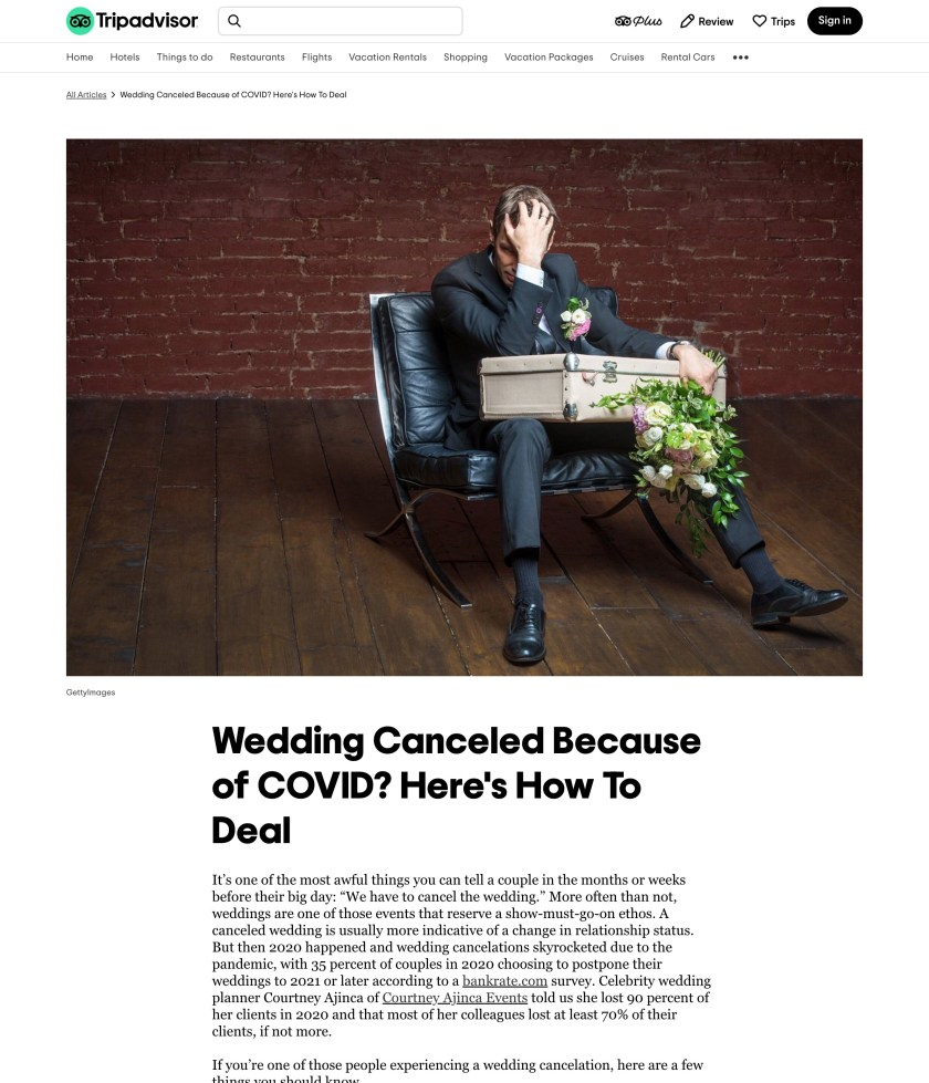 Tripadvisor Article with headline: Wedding Canceled Because of Covid? Here's How to Deal