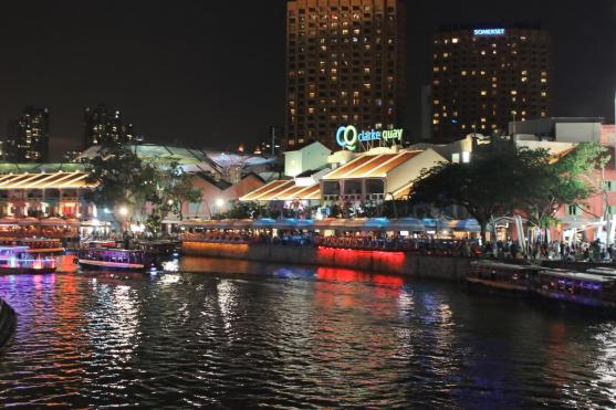 Clark Quay at night (pronounced like key)