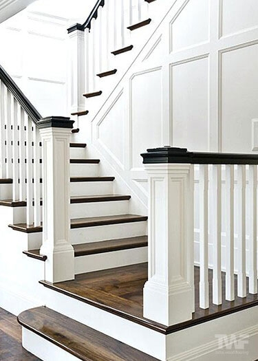 Wood Stair Restorations By Tadas Wood Flooring Naperville Il | White And Wood Stairs | Non Slip | Foyer | Simple | Solid Wood | Indoor