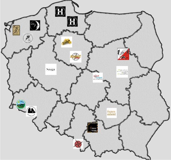 Mapa lokalizacji zawodów Pucharu Polski w Maratonach Rowerowych na Orientację